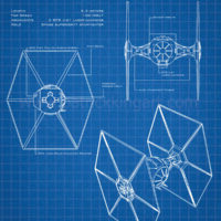 Star Wars Blueprints - TIE Fighter Art Print