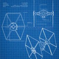 Star Wars Blueprints - TIE Fighter Art Print