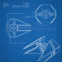 Star Wars Blueprints - TIE Interceptor Art Print