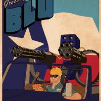 Team Fortress 2 - Blue Team Engineer - Art Print