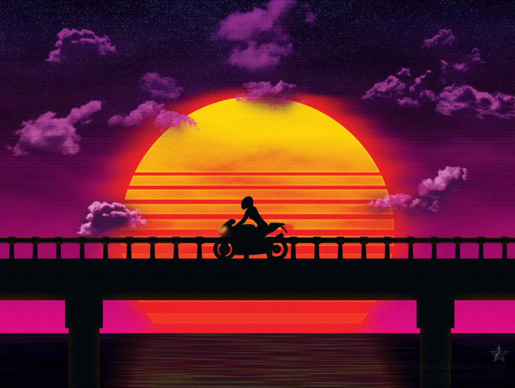 Causeway (Bike) Art Print
