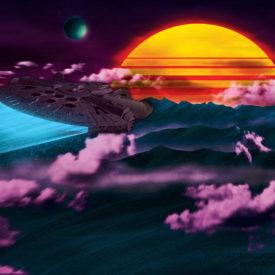 Retrowave Millennium Falcon