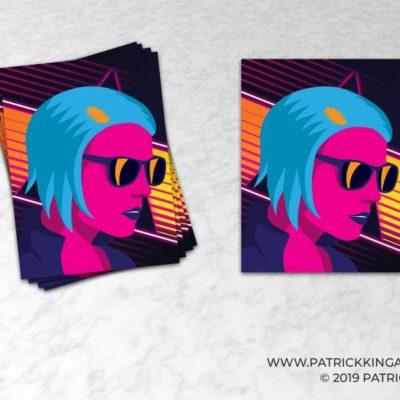 Outrun Girl Sticker