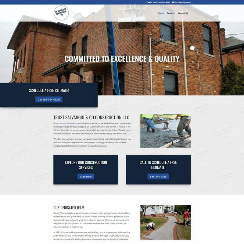 Salvaggio & Co. Construction Website Design